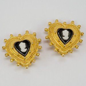 3/$20 Catherine Stein Clip On Earrings Cameo Heart